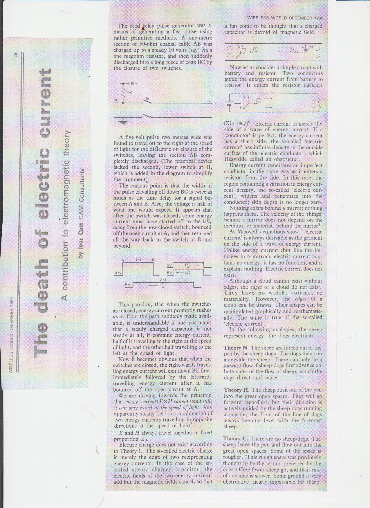 Electromagnetic Theory Maxwells Equations Ivor Catt Current Pulse Relay But See